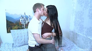 Russian black-haired cutie having her first anal sex on the camera
