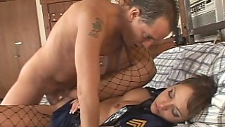 Drunk Uniform Wearing Babe Gets Fucked By A Big Cock