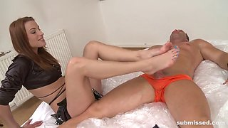 playful mistress gives guy hard pegging and domination