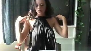 This honey gets horny and masturbates while smoking