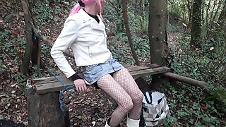 Crossdresser pink hair woodland dildo fun