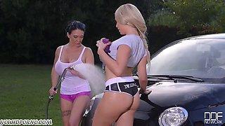 Horny American milfs with mega boobs wash car use their big tits