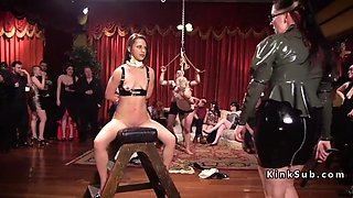 bdsm orgy party with latex and spanking