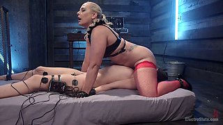 Cruel latex mistress punishes pussy of tied up bitch Cassidy Klein