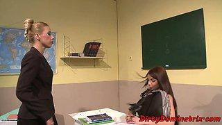 Teacher mistress dildoing submissive student