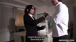 Horny boss fucks Japanese secretary Minami Kitagawa on the table