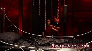 Extreme brutal anal dildo and sexy bondage wrestling Poor li
