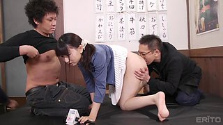 Pretty Asian girl Shizuku Kotohane gets her pussy drilled on the floor