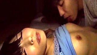 Sleeping Oriental babe gets her hairy peach drilled deep