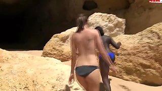 2 Horny Girls Seduce A Beach Guy