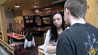 HUNT4K. Shy teen copulates with man in bar while boyfriend..
