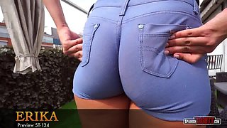 Young big-bottomed latina in cameltoe shorts