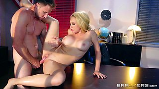 Blonde moans uncontrollably as she rides rough on a jumbo shaft