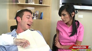 Big tits nurse threesome with cum in mouth