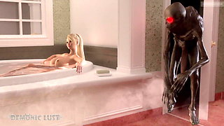 Boogeyman monster fucks busty Blonde in the bathroom. 3D Sex