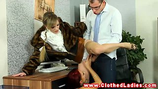 Glamorous euro ladies fuck guy at office
