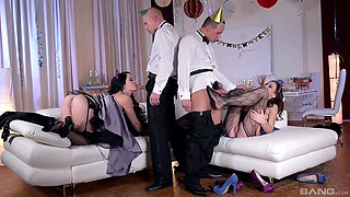 Hardcore party foursome with Dolly Diore and Tina Kay riding cocks