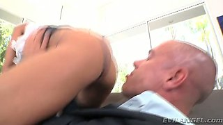 Lustful hoe with perky tits deepthroating bald dude in 69 position