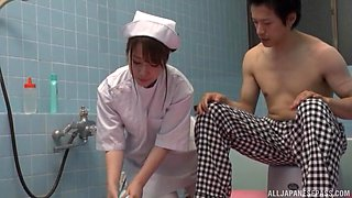 Sweet nurse pleases a kinky guy by jerking his hard pecker