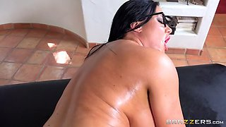 Glasses wearing older hottie oils up and takes it all in