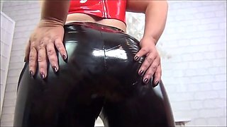 Blonde latex cock tease