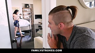 FamilyStrokes- Busty Aunt Seduces step-Nephew Staying Over