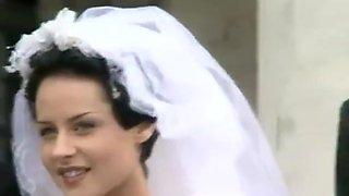 Bride in Satin Wedding dress