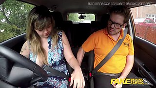 Fake driving school massive british boobs one last lesson