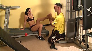 Sporty babes Mya Diamond and Sarah Simon fuck a cock at the gym