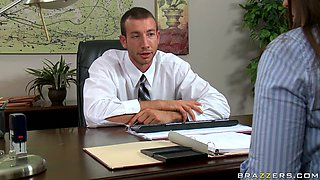 Big titted MILF Alexis Breeze gives professional blowjob in the office