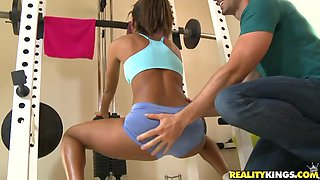 Staci Ellis shows off her ass before being fucked by her trainer