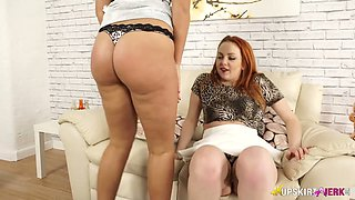Ardent buxom redhead Harley is ready for some lesbian spooning