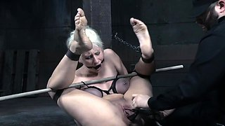 Breast bound clit pierced sub pussy toyed