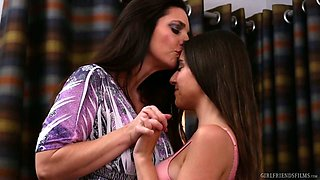Pretty Arielle Faye is more than ready for some lesbian sex with her babe