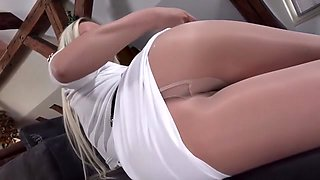 White Dress and Pantyhose Striptease
