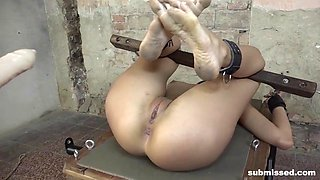 hot submissive brunette whore gets machine fucked