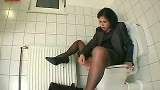 My friend's  sister in toilet before go to work decides to masturbate