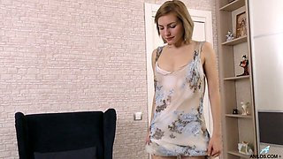 Housewife Judith Angel plays with stretched pinkish hole doggy style pose