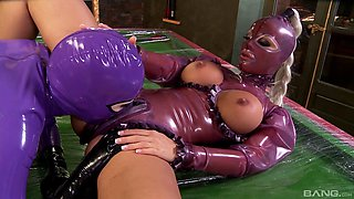 Shiny latex hoods and outfits on these titty licking ladies