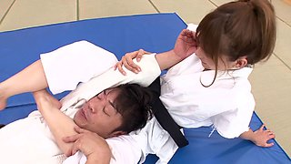 Gorgeous Japanese karate girl decides to do some cock riding