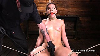 A gagging fetish slut gets roughly tied up and abused hard