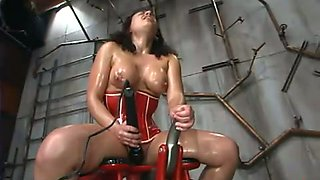 Busty Brunette Gets Banged by Machines with Big Toys