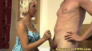 British CFNM dominatrix blowing passionately
