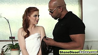 Pale redhead chick banged by black monster rod