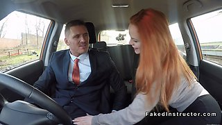 pale redhead driving student bangs in car clip