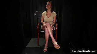 English Beauty Gagging on cocks in the gloryhole