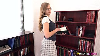 Wearing college uniform kinky English nympho Honour May goes solo