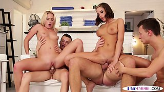 Bisexual studs assfucking and banging babes