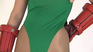 Japanese cammy cosplay leotard &amp pantyhose photoshoot