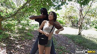 tight bodied brunette babe fucked by a black robber